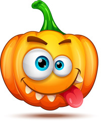 Pumpkin characters funny, funny, and crazy. Halloween cartoon emoticons