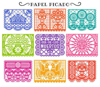 Day of the Dead. Papel Picado. Vector collection of traditional Mexican paper cutting templates. Isolated on white.