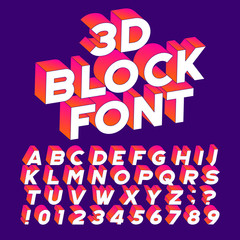 3D block alphabet font. Three-dimensional effect letters, numbers and symbols. Stock vector typography for your design.