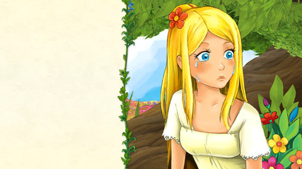 cartoon fairy tale scene with beautiful young girl siting near the tree - illustration for children