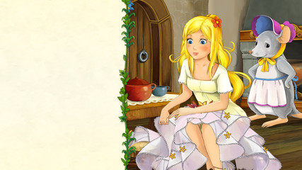 cartoon fairy tale scene with beautiful young girl in medieval kotchen with a mouse hostess - illustration for children