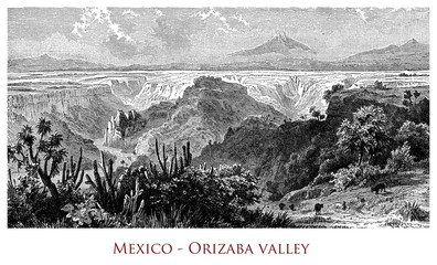 Engraving depicting a view of the Orizaba Valley - Mexico