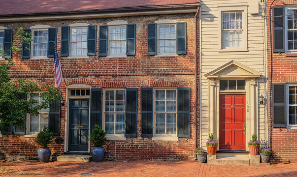 Annapolis, Maryland, USA - May 15, 2018: Typical houses in the historic district of Annapolis, Maryland