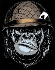 Gorilla in the military helmet.