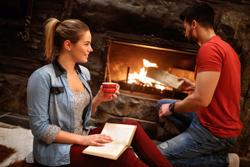 Romantic weekend in mountain near fireplace