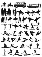Surfboard rider man  woman and child surfing silhouettes vector collection