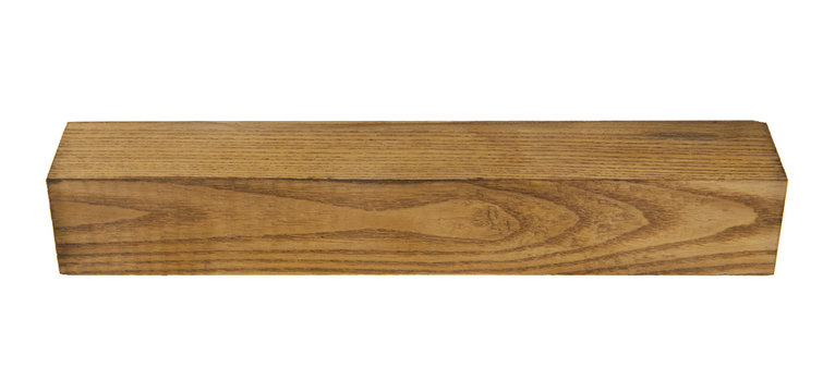 wooden bar isolated on white background. As an element of packaging design.