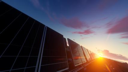 Solar Panel Farm under Evening Sky 3d rendering
