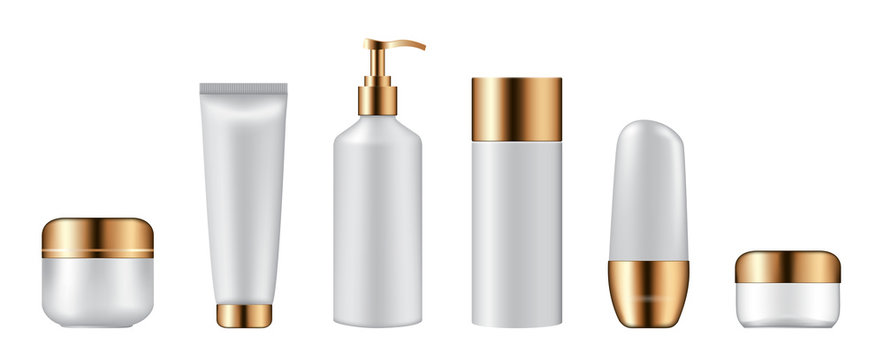Set of cosmetic bottles on white background