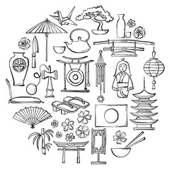 Hand-drawn traditional Japanese symbols and souvenirs. Set of vector sketches on oriental themes. Doodle design elements.