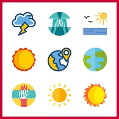 ray vector icons set. x ray, planet earth, sun and storm in this set.