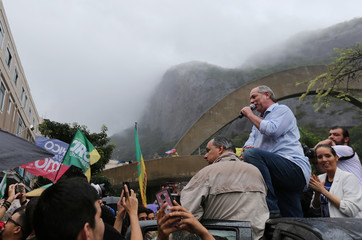 Brazilian presidential candidate Gomes talks attends a rally at Rocinha slum in Rio de Janeiro