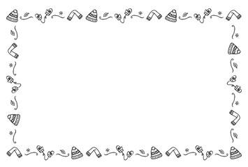 防寒具のフレーム 手描き 白黒
