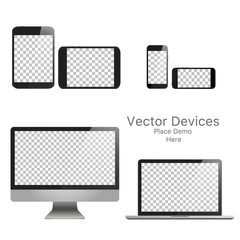 Set realistic vector devices on a white background