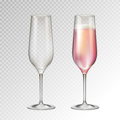 Realistic vector illustration of full ond empty champagne glass isolated on transperent background