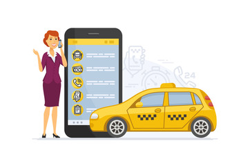 Taxi service - modern vector cartoon character illustration