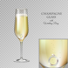 Realistic vector illustration of champagne glass with diamond wedding ring isolated on transperent background