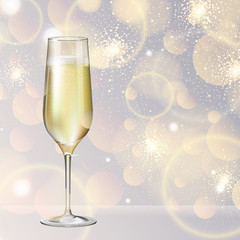 Realistic vector illustration of champagne glass on blurred holiday silver sparkle background
