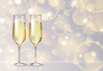 Realistic vector illustration of champagne glasses on blurred holiday silver sparkle background