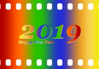 New year greetings for 2019 with colorful blank film and photographic window with color inscription Happy new year and number 2019 on a white background