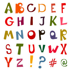 Set of doodle letters. Alphabet.