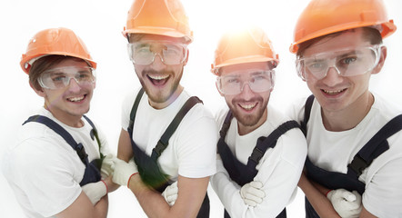 closeup.A group of professional industrial workers.