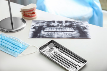 Tray with dentist's tools and roentgenography on light table in doctor's office