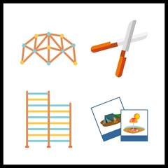 4 hobby icon. Vector illustration hobby set. pruners and net climber icons for hobby works
