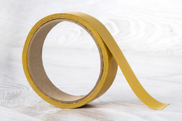 Transparent adhesive tape on white background