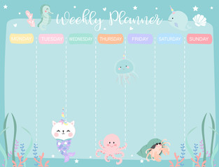 Pastel weekly calendar planner with little mermaid,caticorn,squid,coral and sea horse