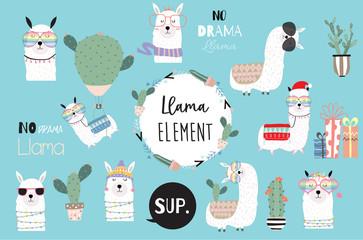 Blue hand drawn cute card with llama, heart glasses and hat in winter christmas.include wording No drama llama,no problem llama