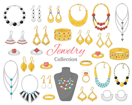 Fashionable jewelry collection, vector illustration.