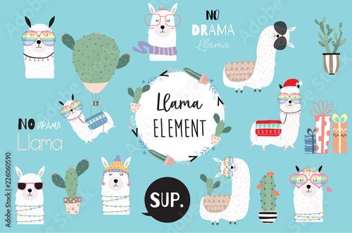 309a7ecd0 Blue hand drawn cute card with llama, heart glasses and hat in winter  christmas.include wording No drama llama,no problem llama