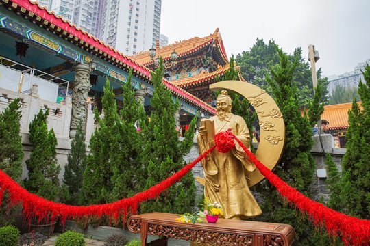 Hong Kong - March 20, 2016:Statue of Yue Lao, or old man under the moon, chinese god of marriage