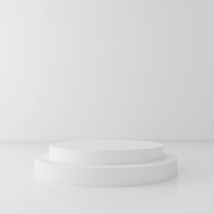 White cylinder podium on white background, 3d render