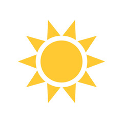 Sun vector icon, summer symbol. Simple illustration, flat design for web or mobile app