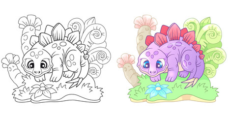 cartoon dinosaur, cute, small stegosaurus, funny illustration