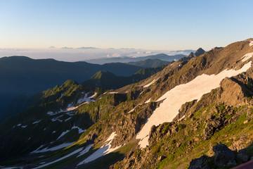双六岳 朝焼け 登山