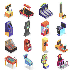 Game machine isometric icon set, electronic entertainment