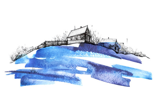 Countryside landscape. Illustration of watercolors and black mascara. Abstract blue splash of paint. Silhouettes the village. Watercolor logo, postcard on a white background.