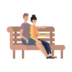 couple lovers sitting on wooden chair