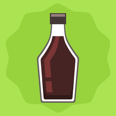 Soy sauce bottle on green background, vector illustration