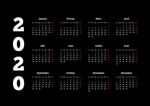 2020 year simple calendar on french language on dark background