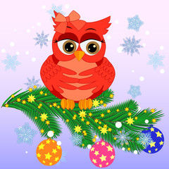 Greeting Christmas card Owl on a branch with balloon