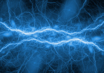 Blue lightning, abstract and power concept