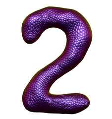 Number 2 two made of natural purple snake skin texture isolated on white
