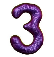 Number 3 three made of natural purple snake skin texture isolated on white