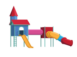Colorful Playground on White Background, Vector Illustration Art.
