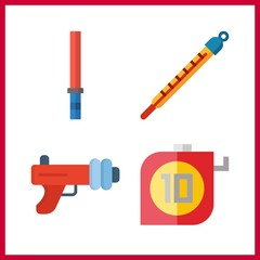 tape icon. stick and measuring vector icons in tape set. Use this illustration for tape works.