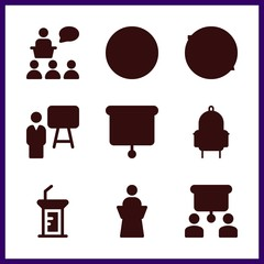 9 teaching icon. Vector illustration teaching set. presentation and lecture icons for teaching works